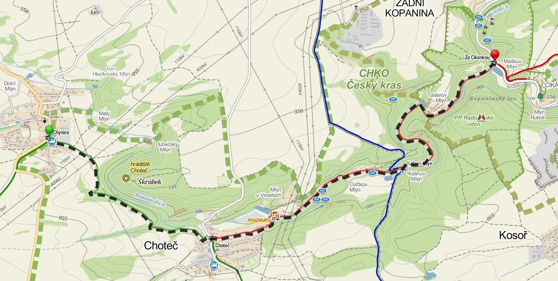 Mapa trasa Radotínský potok