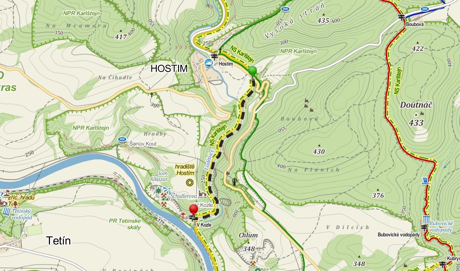 Mapa údolí pod Hostímem