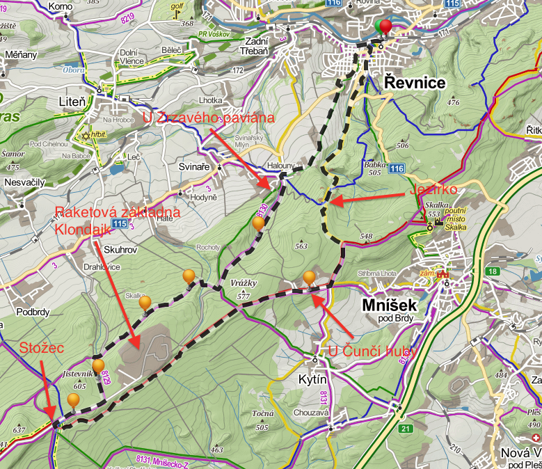 Mapa okolo Klondajku
